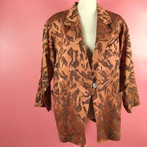 Vtg 80s Abstract Print Satin Blazer Jacket LG
